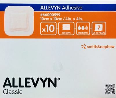 Smith & Nephew Allevyn Classic Adhesive Dressing, 10cm x 10cm, Pack of 10