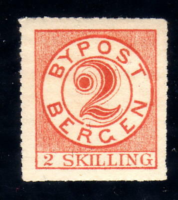 Norway Local post 1870 BERGEN # II.4a , 2 SKILLING perf 16 MINT NEVER HINGED