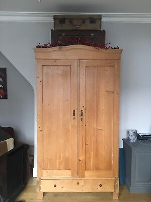 Large Pine Knockdown Wardrobe Antique