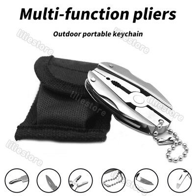 Mini Foldaway Keychain Knife Pocket Multi-Function Tools with Pliers Screwdriver