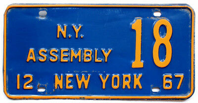 New York 1967 STATE ASSEMBLY License Plate Government Political, Low Number, 18