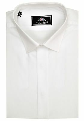 Rael Brook Mens Formal Plain Fly Shirt in White