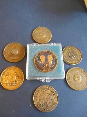 7 Alcoholics Anonymous Medals. 24 Hours Sobriety - 25 Years
