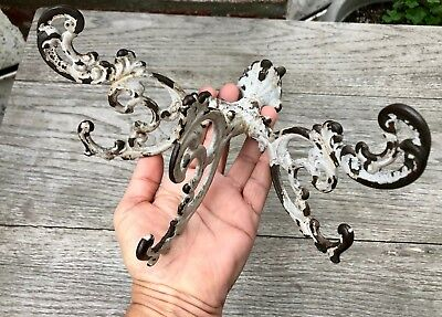 Antique Vintage Shabby Salvage Cast Iron Ornate Scroll Wall / Door Triple Hook