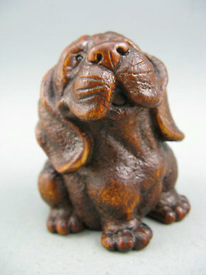 Rare Old Antique Collectible Boxwood Handwork Dog Japanese Netsuke Statue
