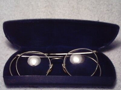 American Optical A/o Ful-Vue 2 Vintage 1940's Round Wire Rim Glasses 12K Gf Case