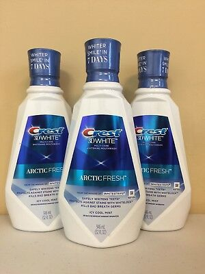 3x Crest 3D White Luxe Multi-Care Whitening Rinse Arctic Fresh 32 Oz Free Ship