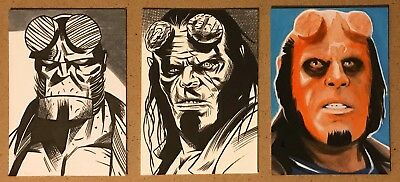 Set Of 3 Original Hand Drawn Hellboy Art Cards By Pro Artist Dark Horse Comics