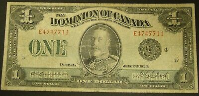 1923 BLACK SEAL CANADA BANK NOTE 1 Dollar Dominion GROUP 4 Currency