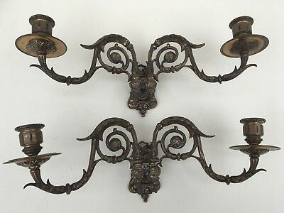 Vintage French Gilt Bronze Double Arm Pair Of Candle Wall Sconces