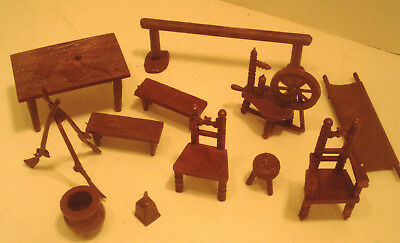 Marx Revolutionary War 1960's Partial Playset Lot - Maroon Furniture Grouping