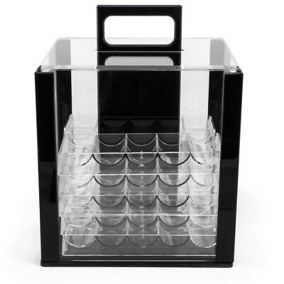 1000 Count Acrylic Poker Chip Storage Carrier Case with 10 Clear Chip Trays New