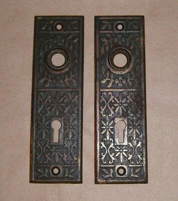 Antique Door Knob Back Plate Escutcheon Set of 2 Matching Ornate Flower Pattern