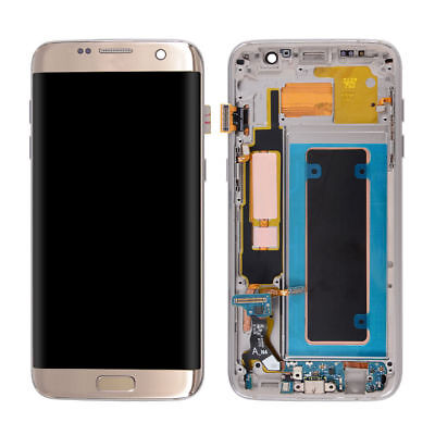 Gold LCD Touch Screen Digitizer + Frame For Samsung Galaxy S7 Edge G935 G935F