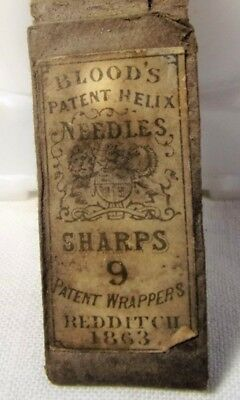 Antique 1863 Dated Sewing Needles Package-9  Blood's Patent Helix aka-SHARPS