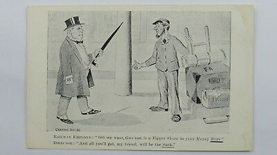 Edwardian Political Comic Postcard Railway Workers Rights Trade Union Porter RMT