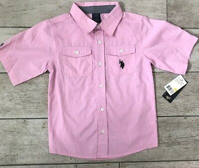US POLO ASSN Boys 6 Short Sleeve Button Down Pink Cotton Shirt New with tags