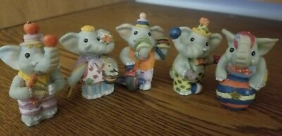 COLLECTION OF VINTAGE CERAMIC ELEPHANT FIGURINES Circus Performing Dressed Mini