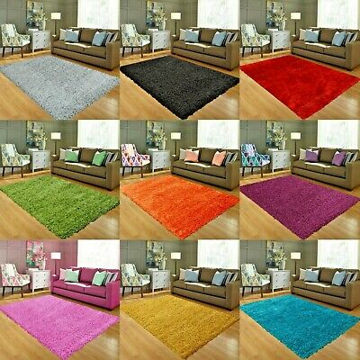 Small and Large Shaggy Rug Thick Plain Soft Non-Shed Living Room Bedroom Rugs