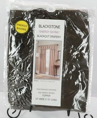 "United Curtain Blackstone Blackout Loop Fringe Valance 54"" x 18"" Chocolate T3"