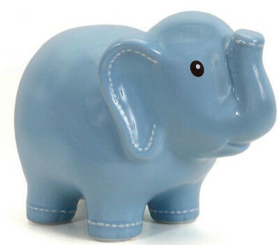 Hand-Painted Ceramic Blue Elephant Coin Bank