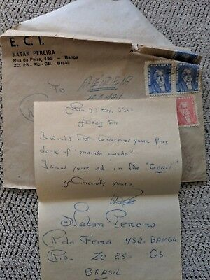 Signed & Dated Letter from Brazil (Brasil) re: Marked Cards, May 1962, w/Envl
