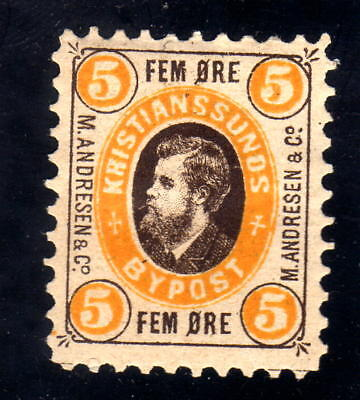 Norway Local post 1879 KRISTIANSSUND # 14 , 5 øre MH