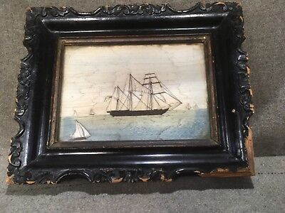Silk ship picture in frame