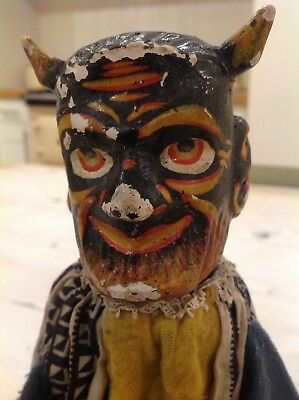 Vintage wooden puppet,Punch and Judy.black devil wooden toy puppet