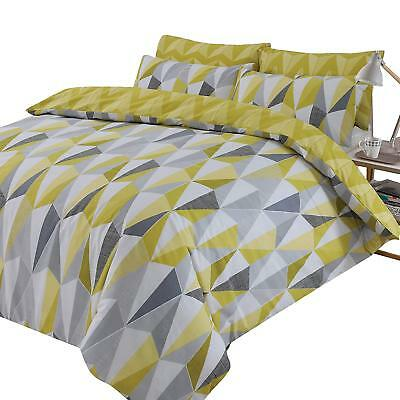 Dreamscene Billie Duvet Cover With Pillowcase Reversible Geometric Triangle Bedd