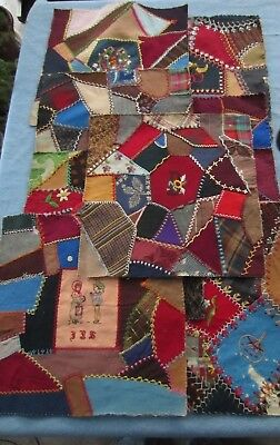 """Lot of 9 Antique Crazy Quilt Squares Embroidered Hand Made 12"""" Square Pillow Top"""
