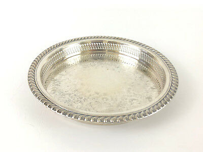 vintage Wm Rogers silver plated round reticulated cocktail tray #670