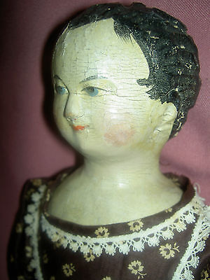 "Very early 17"" antique German carved wood shoulder head, arms & legs child doll"