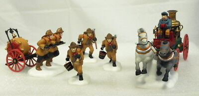 """""""new"""" Dept 56 Heritage Village """"the Fire Brigade Of London Town"""" (Set Of 7 Pcs)"""