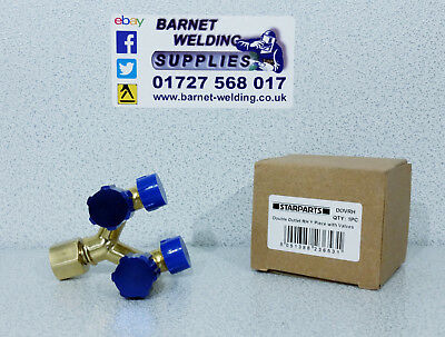 ARGON Gas Double Outlet with Y Piece Adaptor Valves *RH* OXYGEN BLUE