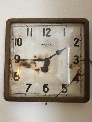 Vintage Retro Industrial INGRAHAM American Wall Clock Spares Or Repair