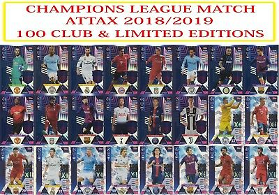 Topps Champions League Match Attax 2018 2019 18 19 Limited Edition 100 Clubs