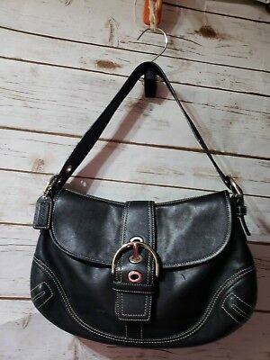 fb9ce7751760 COACH classic black leather shoulder bag purse magnetic buckle flap