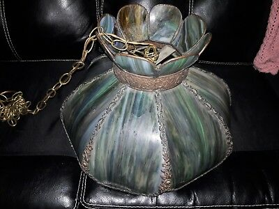 Antique, Large Victorian Stained Bent Slag Glass Lamp ~floral filigree