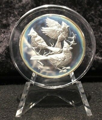 1972 Franklin Mint Cardinal Sterling Silver Round w/Stand