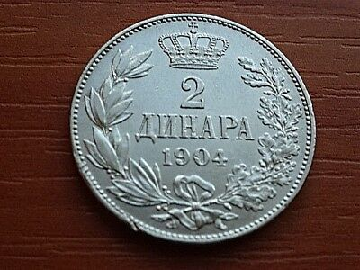 Authentic Serbia Silver 2 Dinara 1904 Peter I 1903-1918 AD Serbian Silver Coin