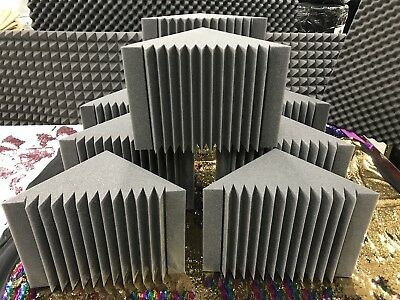 "4 Pack Acoustic Foam Bass Trap Recording Studios Corner Wall 12"" X 12"" X 12"""