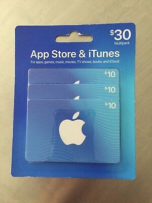 $30 Apple App Store & iTunes gift card - Get 3 NEW $10 gift cards Unopened!!!