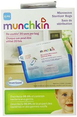 6 Pack Munchkin Microwave Sterilizer Bags Reusable 20 Times NEW in BOX