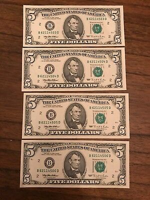 4 X $5 US Dollars With Consecutive Serial Numbers-Uncirculated Collectors Item