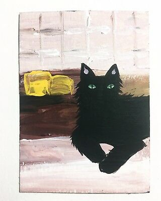 Original ACEO Black Cat Painting Miniature Folk Ooak Atc Art By N.Collins
