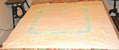"VINTAGE TABLECLOTH MID CENTURY COTTON PRINT YELLOW GREEN COLORS SQUARE 48"" x 48"""