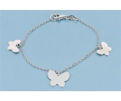"""Sterling Silver 7.25"""" Butterfly Charm Bracelet - Free Gift Packaging"""