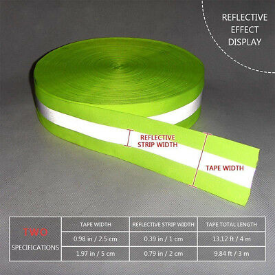 Luggage Florescent Warning Reflective Ribbon Tape Clothes Safety Sewing Strip