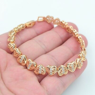 18K Yellow Gold Filled Women Mystical Topaz Love Heart Link Bracelet Jewelry